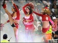 Cheerleaders perform at the IPL