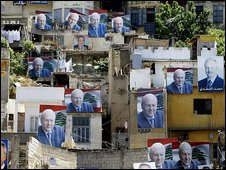 Posters of Lebanese electoral candidates