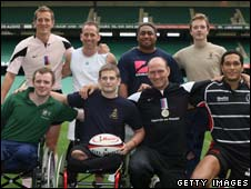 Adam Cocks and other rugby players at Twickenham charity game
