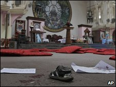 Bloodstained floor at Nepali church