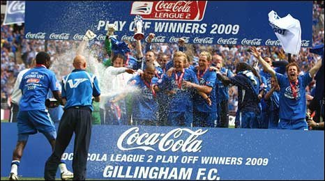 Gillingham celebrate their return to League One
