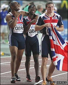 Mark Lewis-Francis celebrates a relay bronze in 2007