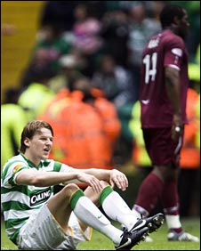 Celtic's Glenn Loovens was floored against Hearts