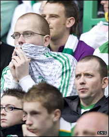 Celtic fans look on in disappointment