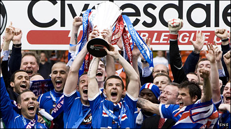 Rangers players celebrating