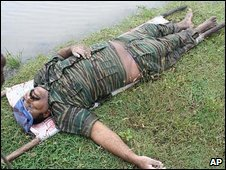 Picture allegedly showing the body of Velupillai Prabhakaran
