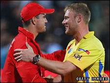 Kevin Pietersen and Andrew Flintoff on IPL duty