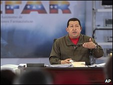 Hugo Chavez in an episode of Alo Presidente