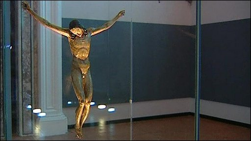 The controversial statue of Christ, on display in Naples
