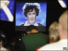 Fans watching Susan Boyle on a big screen