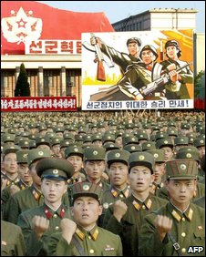 North Korean soldiers at a mass rally to celebrate the country&quot;s first nuclear test in 2006