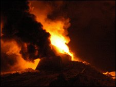 The bitumen and timber hut burst into flame in the dry conditions. Image BBC.com