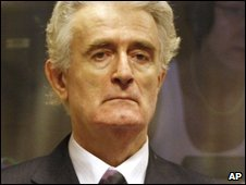 Former Bosnian Serb leader Radovan Karadzic stands in court during his initial appearance at the UN's Yugoslav war crimes tribunal in The Hague, Netherlands on 31 July 2008