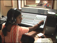 Algole Narsamma in the community radio station