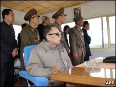 The North Korean leader, Kim Jong-il, inspects an air force unit (image released by North Korea on 23 May)