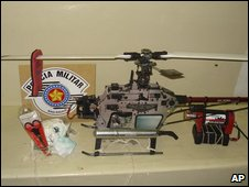 Police photo of seized micro-helicopter