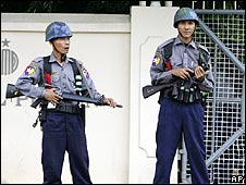 Guards on duty at the Insein maximum security prison (18 May)