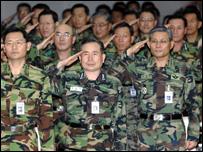 جنود كوريون جنوبيون في اجتماع بسول بسبب التجربة النووية لكوريا الشمالية