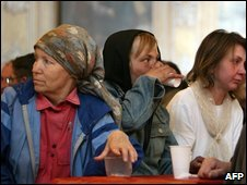 Russina people at a soup kitchen