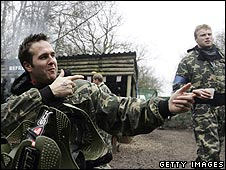 Michael Vaughan and Andrew Flintoff in paintball gear