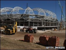 A football stadium in South Africa under construction
