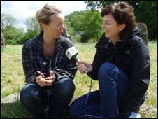 Emily Eavis and 6 Music's Julie Cullen on the Glastonbury site
