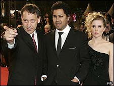Sam Raimi (left) with actors Dileep Rao and Alison Lohman