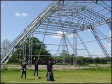Emily Eavis and 6 Music's Music Week presenters at Glastonbury site