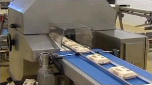 Cheese on a production line