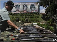 Weaponry on display in Colombia