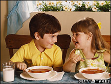 Children eating soup