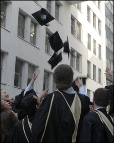 Graduates throwing mortar board hats