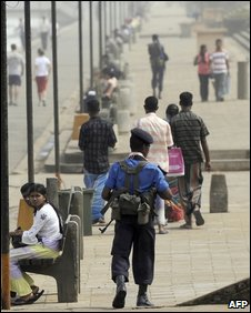 Police patrol in Colombo