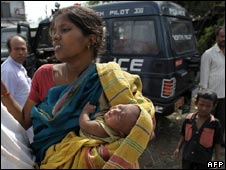 A woman affected by cyclone Aila in West Bengal