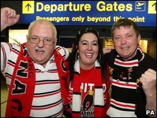 Fans leaving Manchester Airport