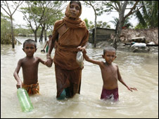 Flood victims in Gabura
