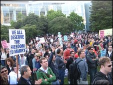 Protesters against the ruling gather in Market Street, San Francisco.  Picture: Rubeun Tan