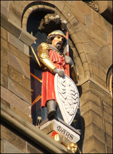 A figure on the south face of Cardiff castle's clock tower (Rob Falconer).