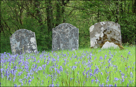 Grave stones at a cemetery in Abergwesyn, Powys by Phil Veall