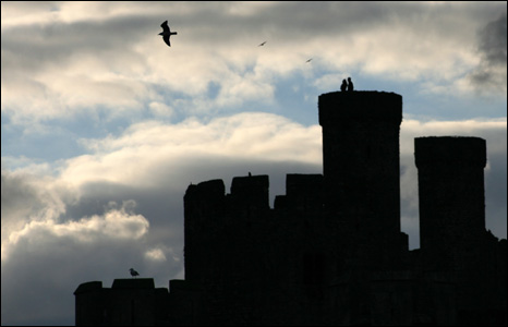 Birds circle the towers of Conwy Castle at dusk in this atmospheric shot from Linda Loughead.