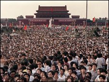 This file photo taken on June 2, 1989 shows hundreds of thousands of Chinese gathering around a 10-metre replica of the Statue of Liberty (C), called the Goddess of Democracy, in Tiananmen Square