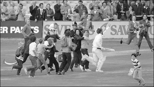 Ian Botham runs off the pitch at Headingley in 1981