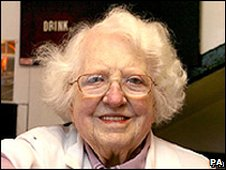 Constance Brown MBE was still serving lunch customers last week - _45831857_44042800
