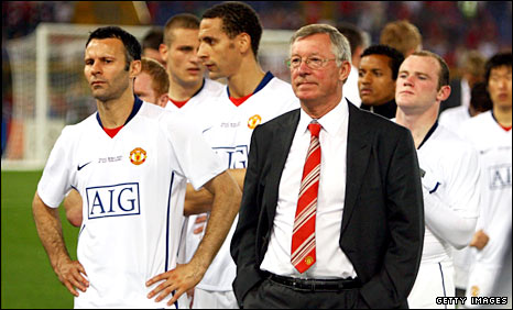 Sir Alex Ferguson and his Man Utd players