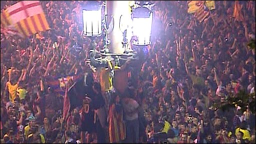 Barca fans celebrate Champions League win