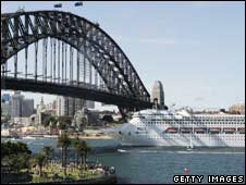 Pacific Dawn cruise ship on earlier visit to Sydney, January 08