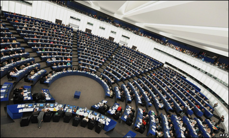 The European Parliament in session in Strasbourg