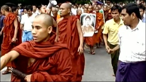 Burmese monks marching