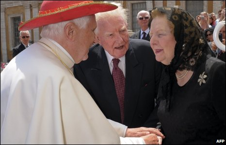 Bope Benedict meets Baroness Thatcher