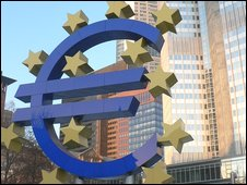 The euro currency sign in front of the European Central Bank in Frankfurt